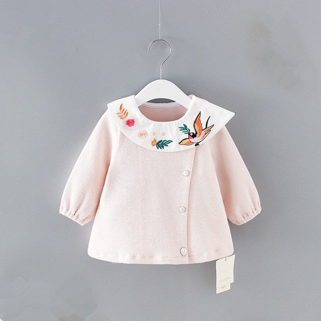 Baby Girl Birds and Flowers Collared Blouse