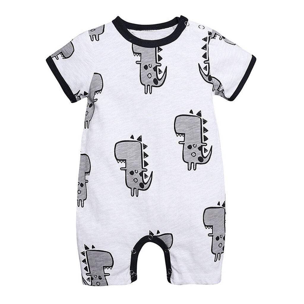 Baby Boy Black and White Romper with Grey Dinosaurs