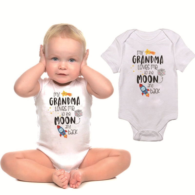 "Unisex Printed Bodysuit ""My Grandma Loves Me To The Moon And Back"""