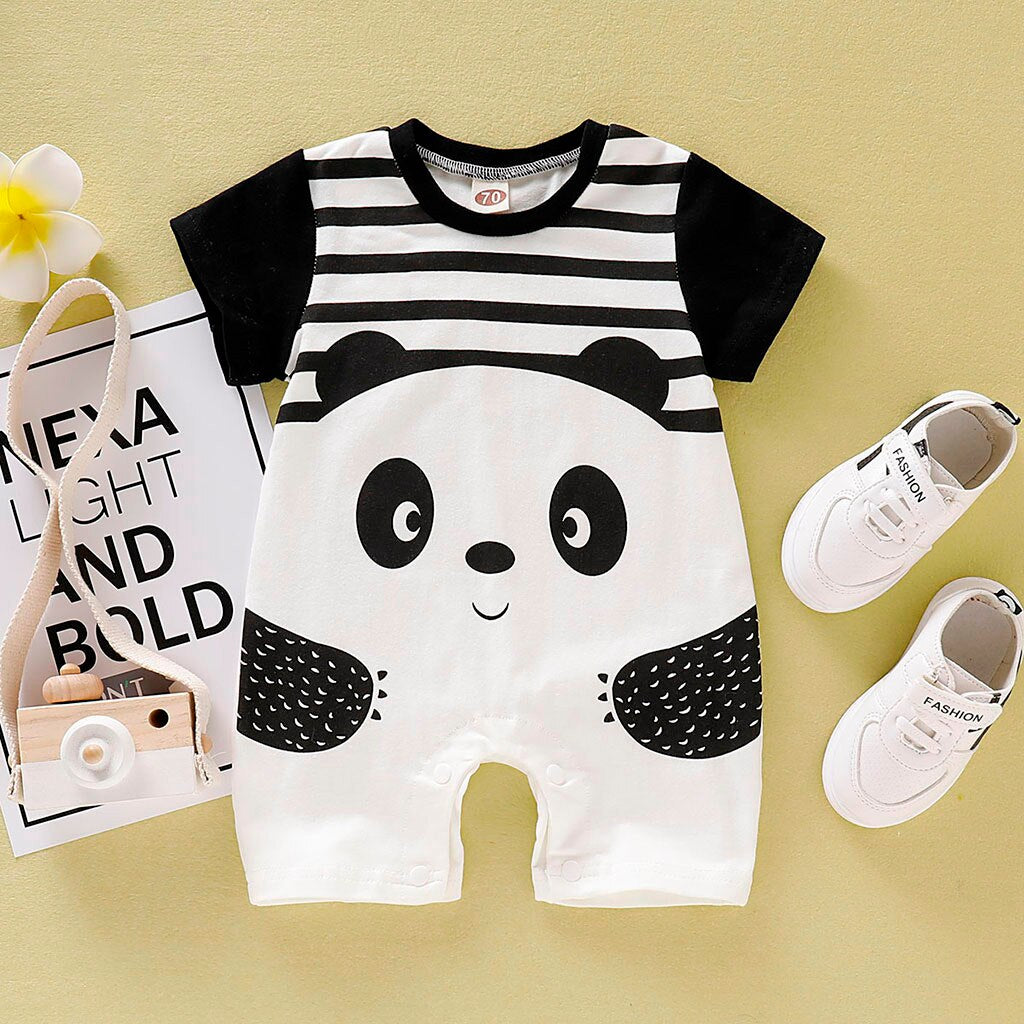 Unisex Black and White Stripped Panda Romper