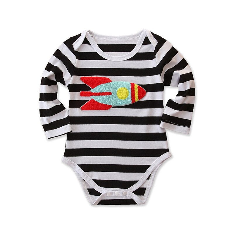 Baby Boy Black and White Stripped Bodysuit with Rocket Applique