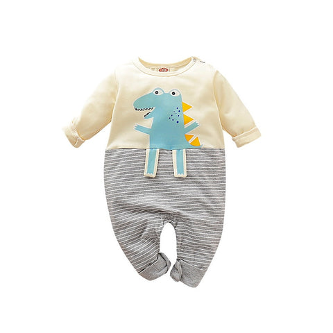 Baby Boy Grey and Beige Dinosaur Romper