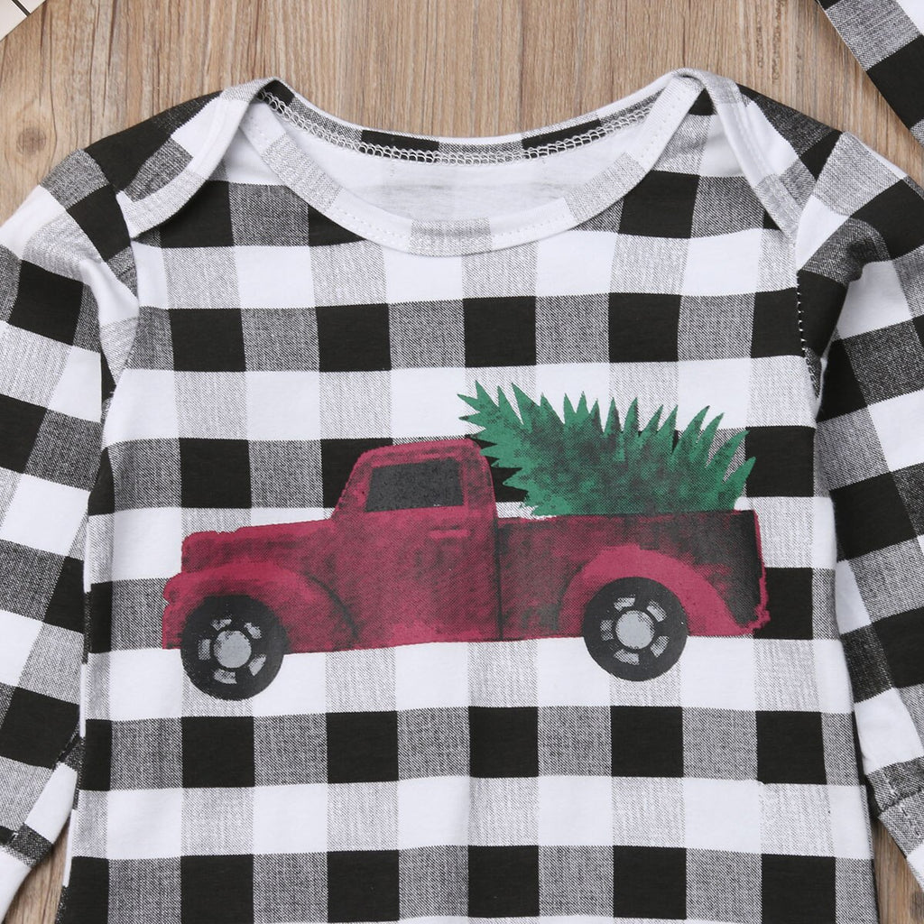 Baby Boy Black and White Checkered Romper with Car and Pinetree Print + Hat Set
