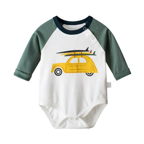 Baby Boy Yellow Beetle with Surfboard Bodysuit