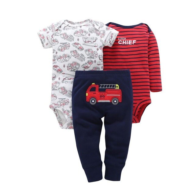 Baby Boy Fire Truck Bodysuits + Pant Set