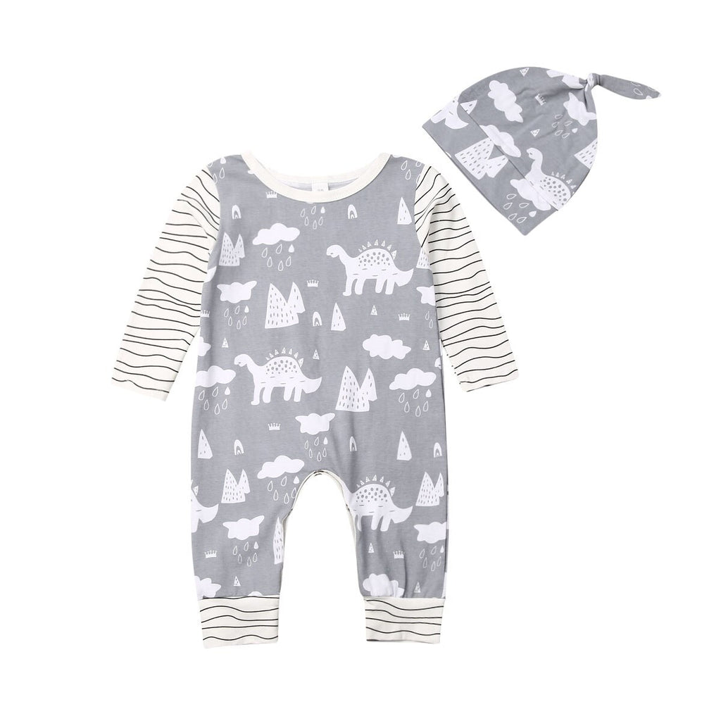 Baby Boy Grey Dinosaur Romper with Stripped Sleeves + Hat Set
