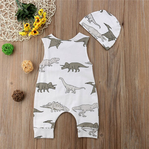 Baby Boy White Dinosaur Romper + Hat Set