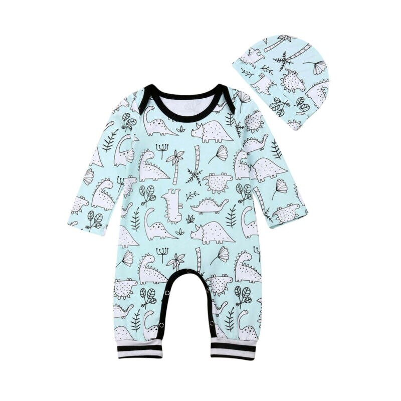 Baby Boy Blue and White Dinosaur Romper + Hat Set