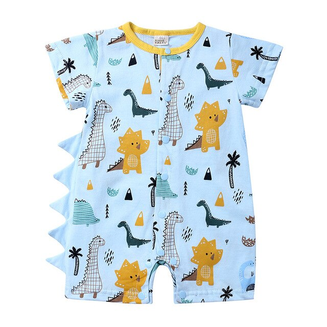 Baby Boy Cute Cartoon Dinosaur Romper with Shell Detail