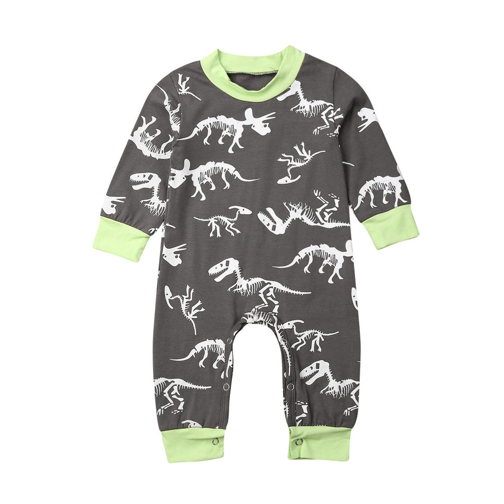 Baby Boy Black and White Dinosaur Romper with Green Details