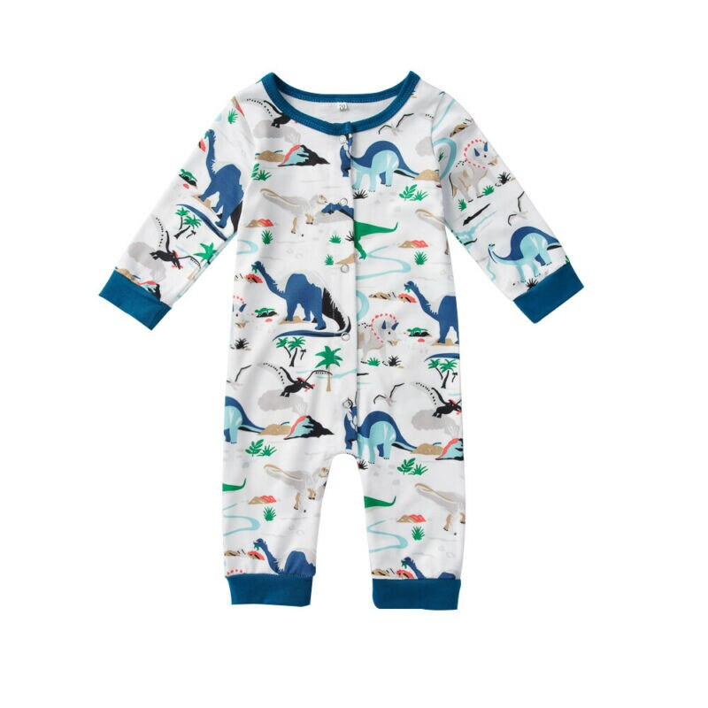 Baby Boy White and Blue Dinosaur Romper
