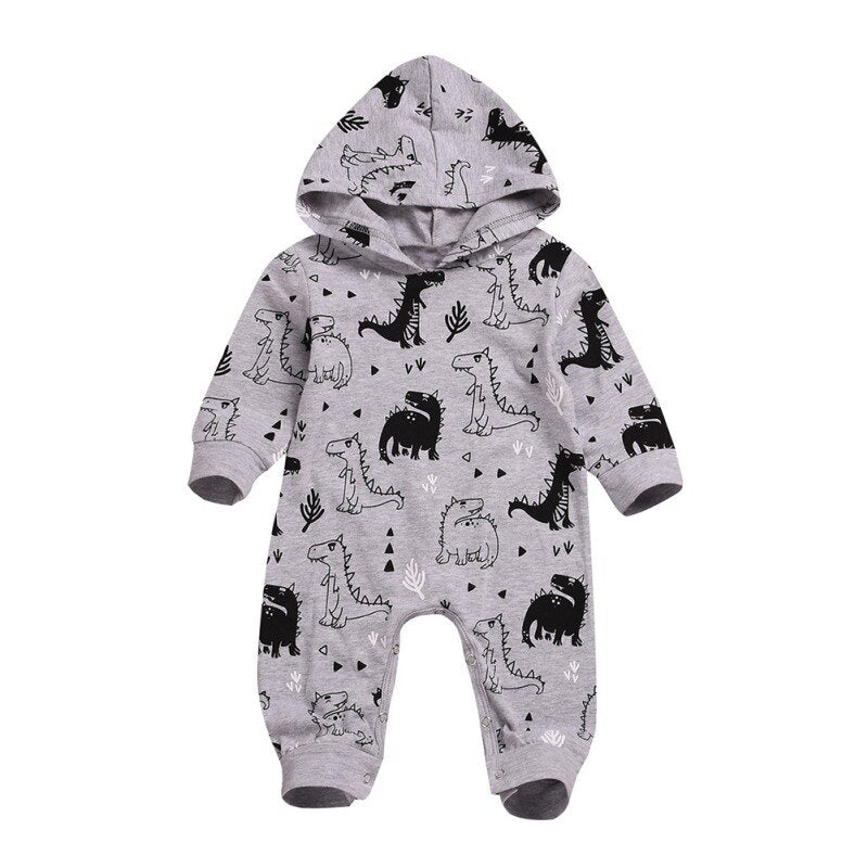 Baby Boy Grey and Black Hooded Romper