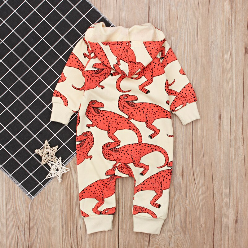Baby Boy T-Rex Dinosaur Hooded Zipped Romper