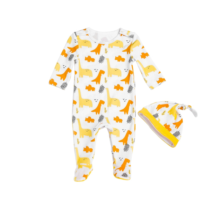 Baby Boy White with Yellow and Orange Dinosaurs Onesie + Hat Set