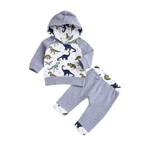 Baby Boy Grey Dinosaur Sweater + Pants Set