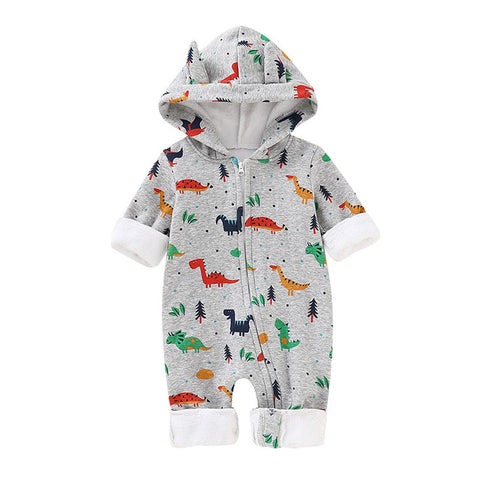 Baby Boy Colorful Dinosaurs Hooded and Zipped Romper