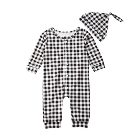 Unisex Black & White Checkers Print Rompers + Hat Set