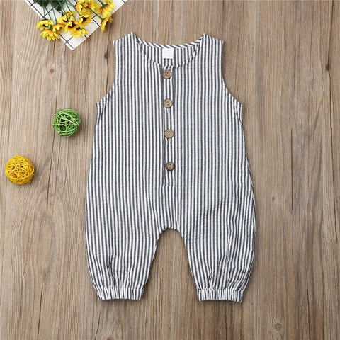 Unisex Black & White Stripped Romper with Buttons