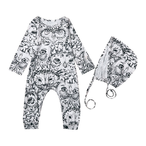 Unisex Black & White Printed Owl Romper + Hat Set