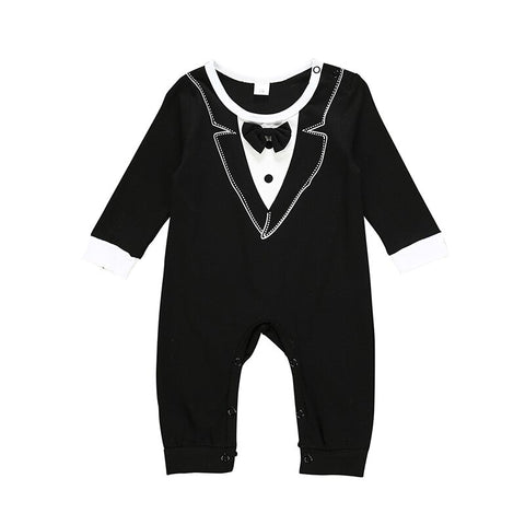 Baby Boy Black and White Formal Romper with Bowtie