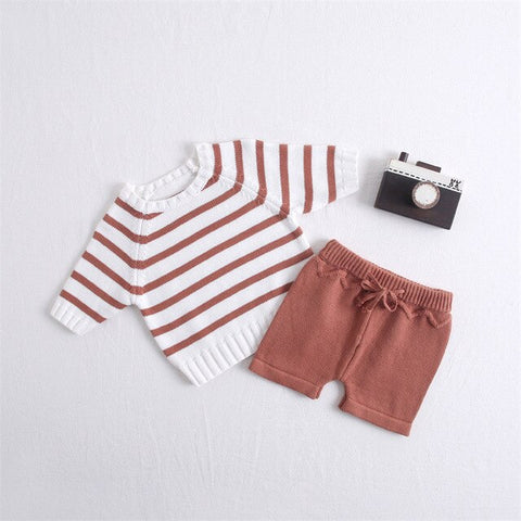 Baby Boy Vintage Style Knitted Stripped Sweater + Short Set