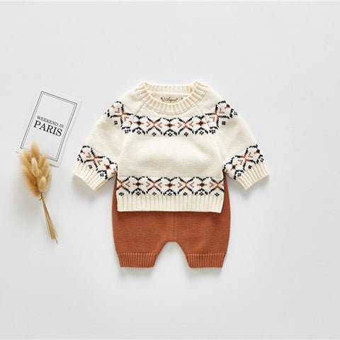 Baby Boy Vintage Style Knitted Sweater + Short Set
