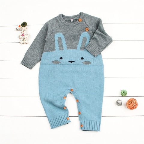 Unisex Vintage Style Knitted Bunny Romper