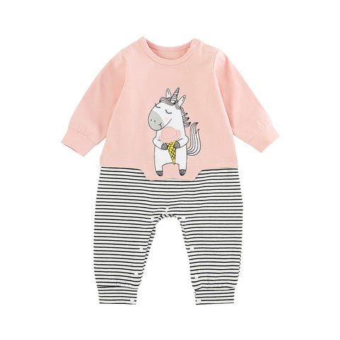 Baby Girl Unicorn Stripped Romper