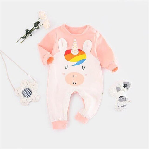 Baby Girl Rainbow Unicorn Romper