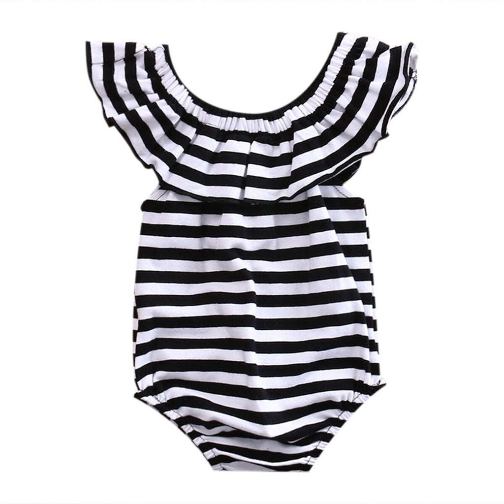 Baby Girl Black & White Stripped Bodysuit with Collar