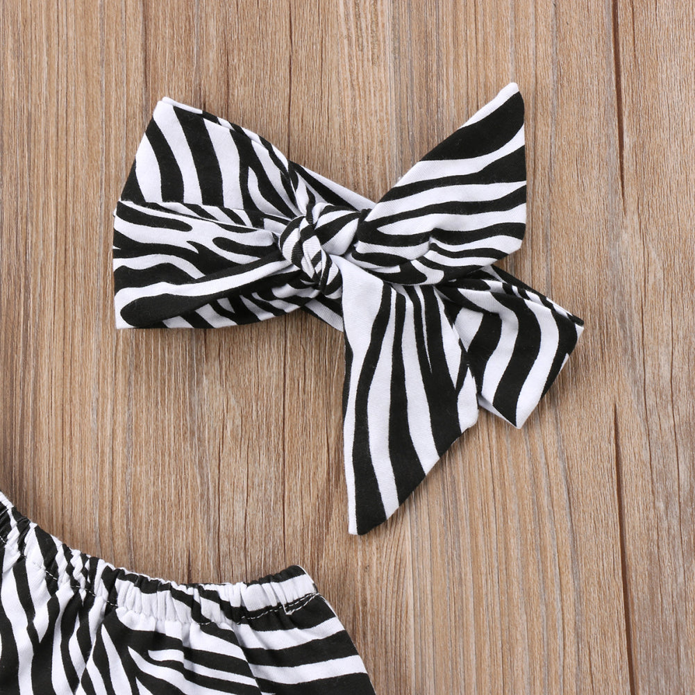 Baby Girl Zebra Print Bodysuit + Headband Set