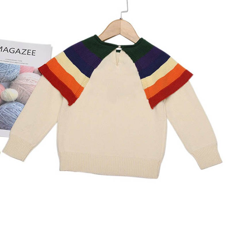 Baby Girl Knitted Collared Rainbow Sweater