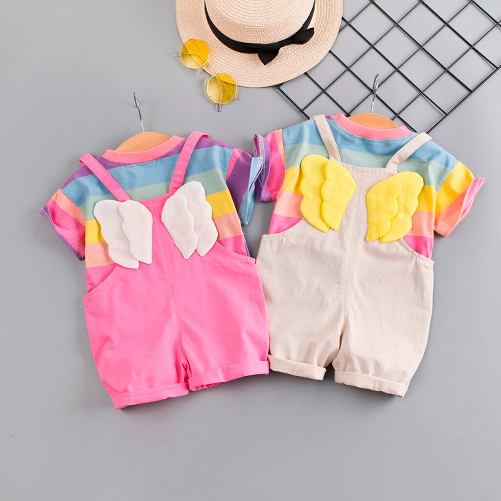 Baby Girl Romper + Rainbow T-Shirt Set with Wings Detail