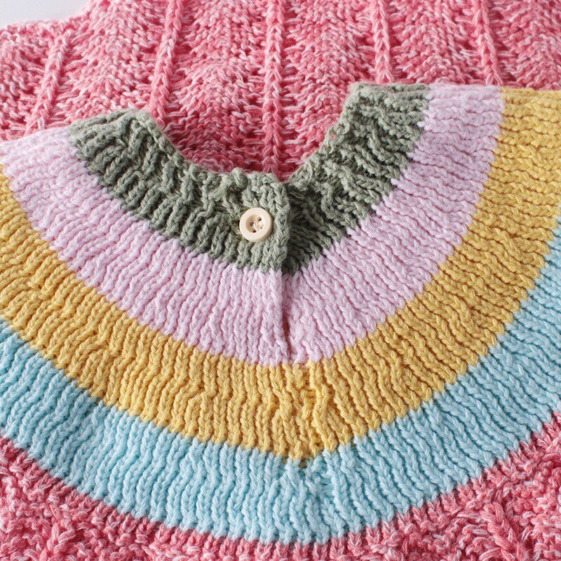Baby Girl Pink Knitted Rainbow Romper