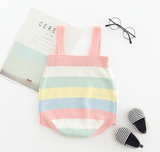 Baby Girl Knitted Rainbow Stripes Romper