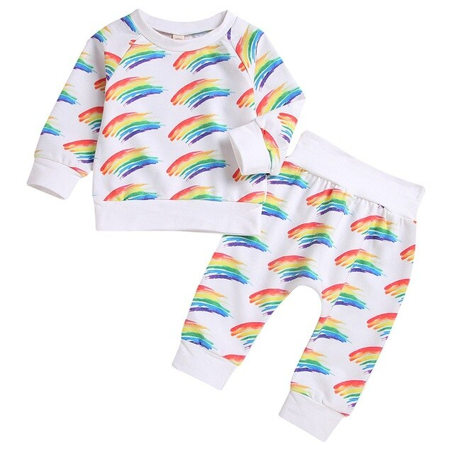 Unisex Watercolor Rainbow Sweater + Pants Set