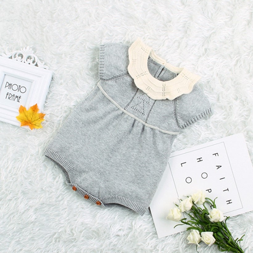 Baby Girl Vintage Style Knitted Romper with Collar