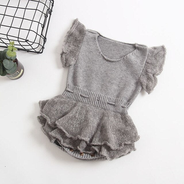Baby Girl Vintage Style Knitted Romper with Ruffles