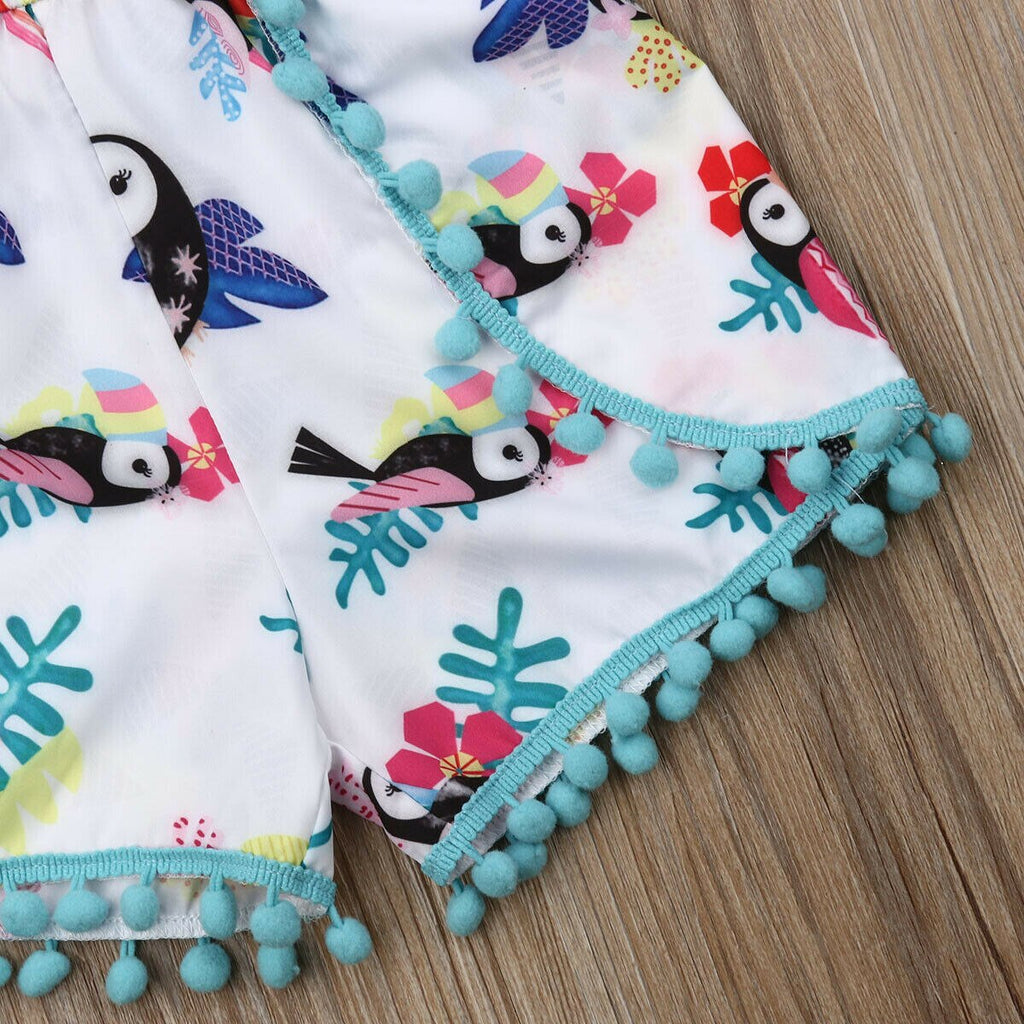 Baby Girl Tropical Tucan Romper with Pompoms