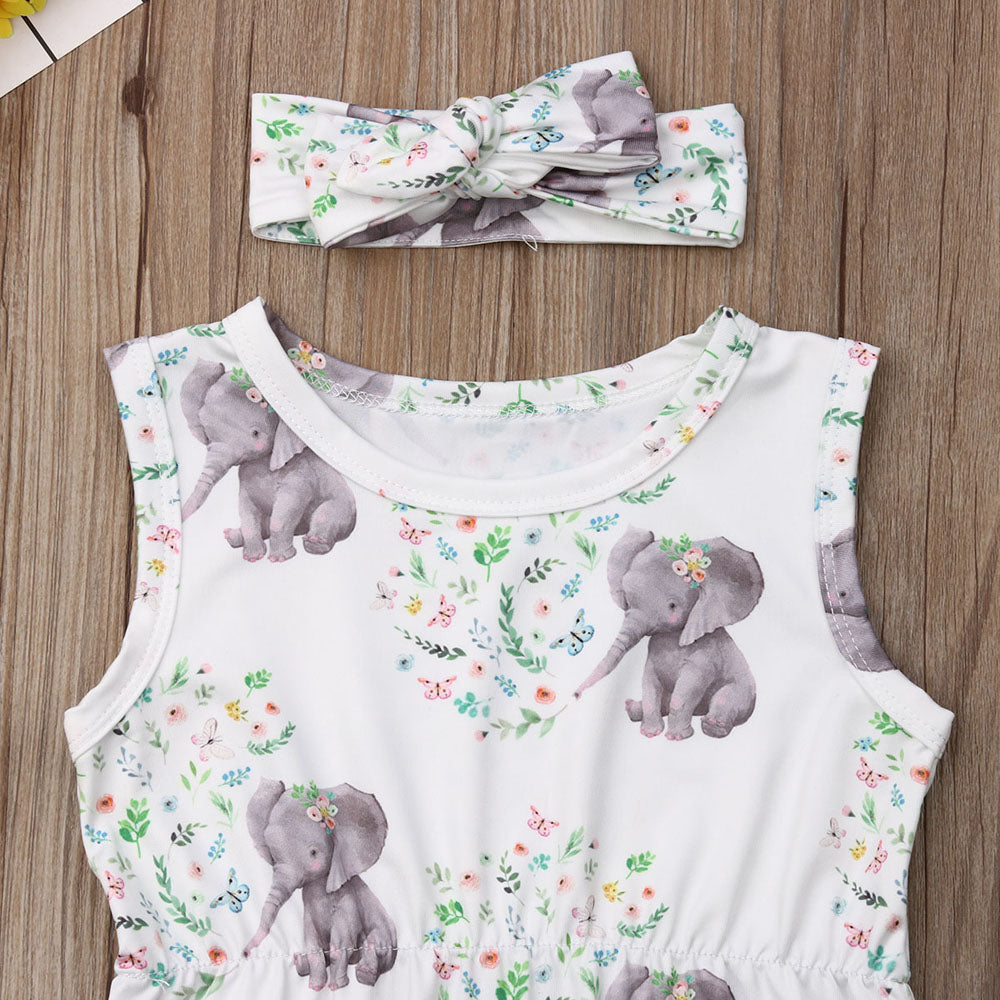 Baby Girl Cute Elephant Romper with Pompoms + Headband Set