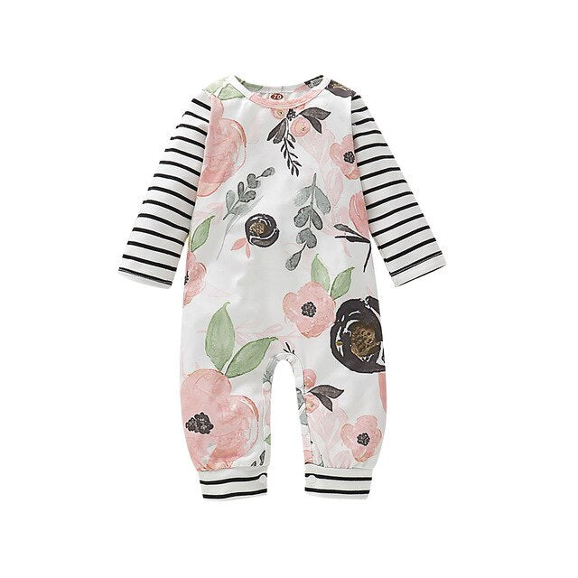 Baby Girl Cute Floral Stripped Romper