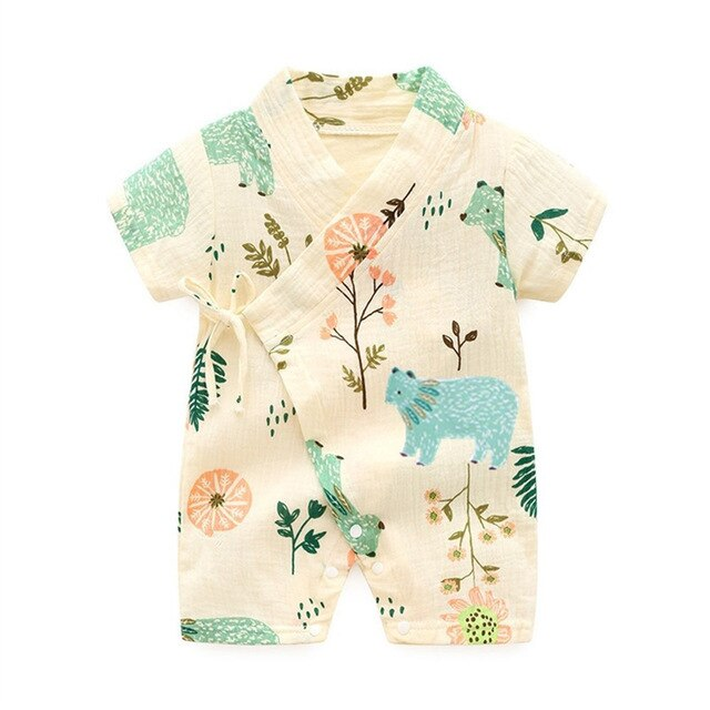 Baby Girl Kimono Style Romper with Bear Print