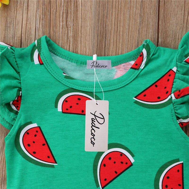 Baby Girl Ruffled Watermelon Green Bodysuit