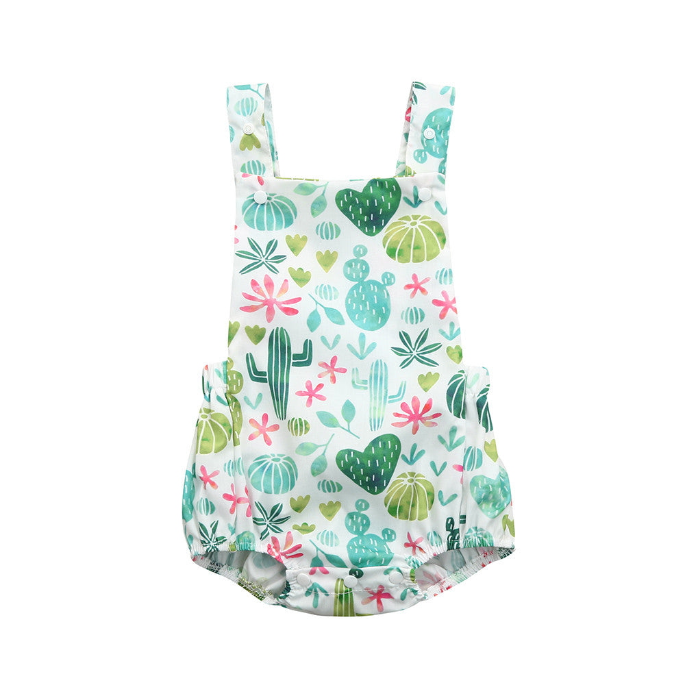 Baby Girl Cheerful Cactus Summer Romper