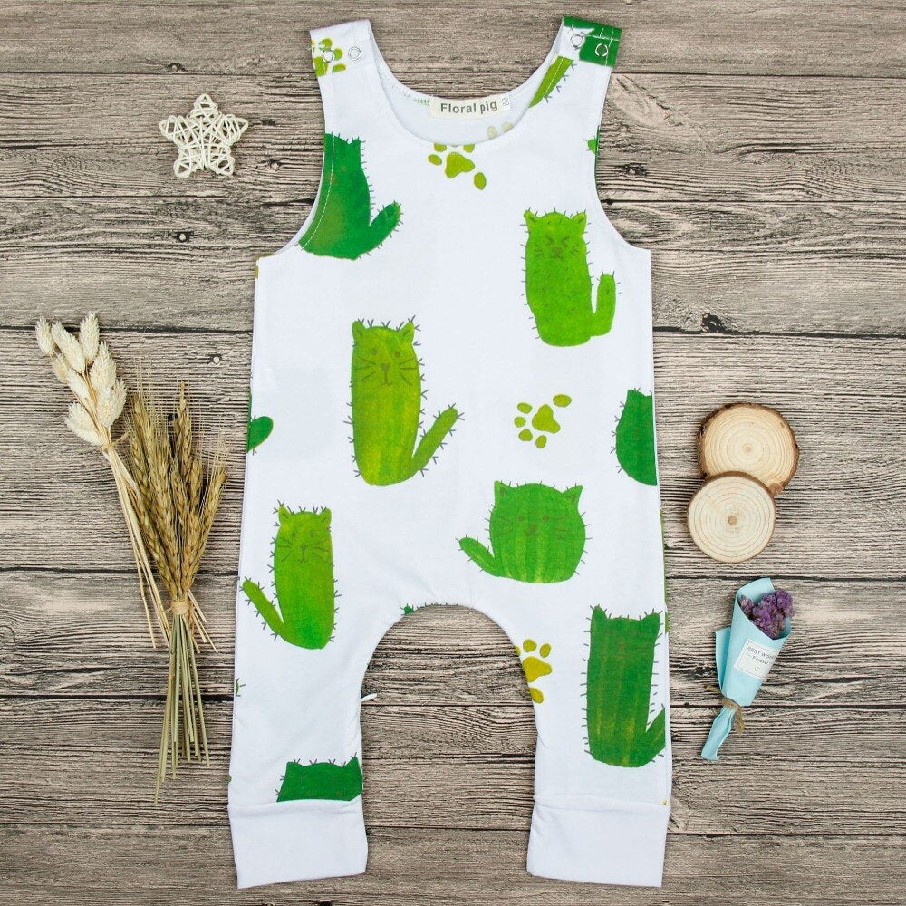 Unisex Cat Shaped Cactus Romper