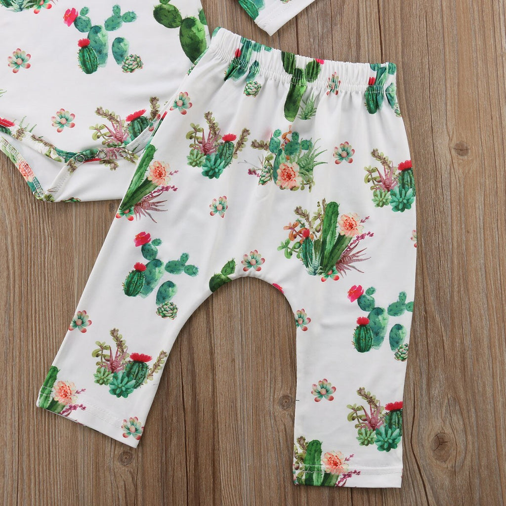 Baby Girl Bodysuit + Pant + Headband Cactus Set