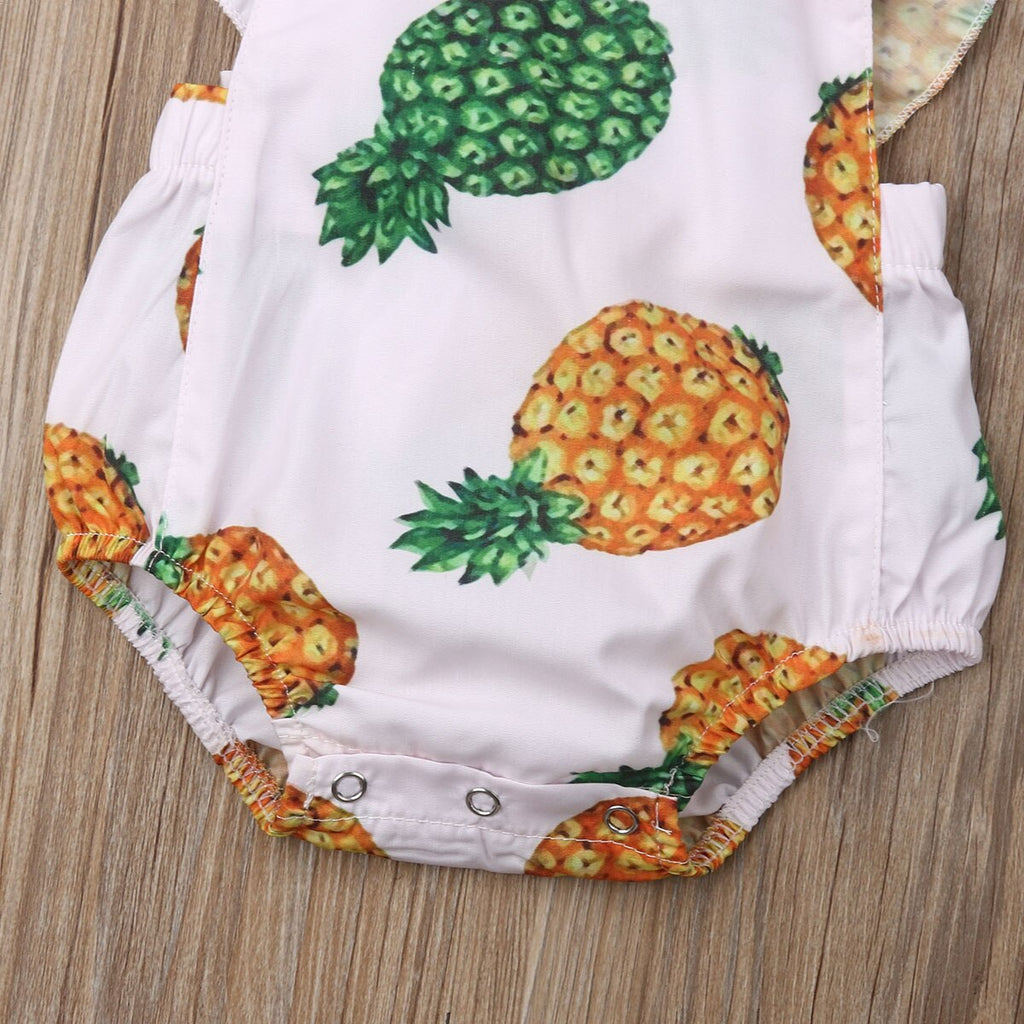 Baby Girl Pineapple White Summer Romper