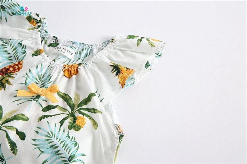 Baby Girl Pineapple White Ruffled Romper