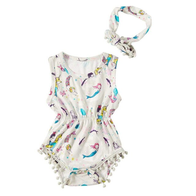 Baby Girl Mermaid Romper with Pompoms + Headband Set