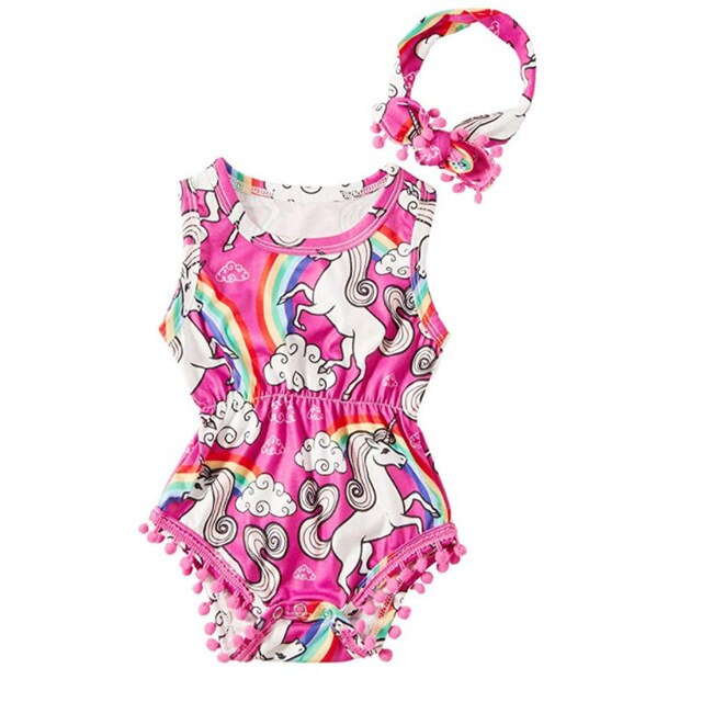 Baby Girl Pink Unicorn Romper with Pompoms + Headband Set